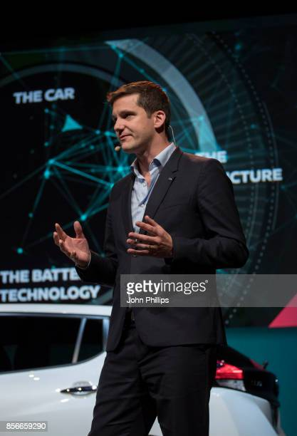 Gareth Dunsmore Electric Vehicle Director of Nissan Europe unveils the new 100% electric Nissan LEAF at NissanÕsÊFutures 30Ê event at the...