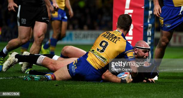 Gareth Ellis of Hull FC celebrates scoring his team's first try during the Betfred Super League semi final between Leeds Rhinos and Hull FC at...
