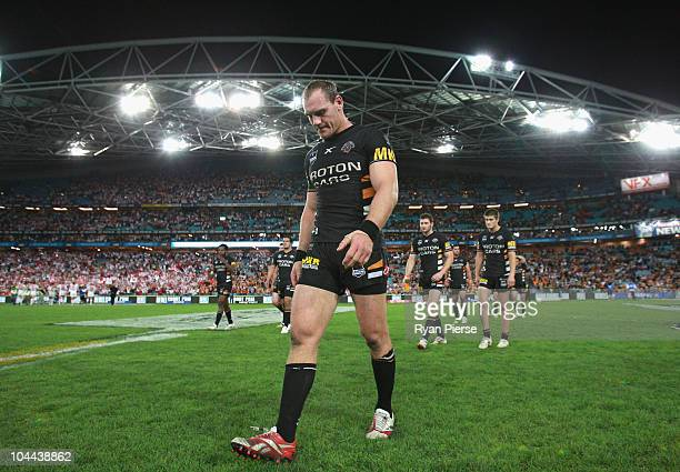 Gareth Ellis of the Tigers looks dejected as he leaves the ground after the Second NRL Preliminary Final match between the St George Illawarra...