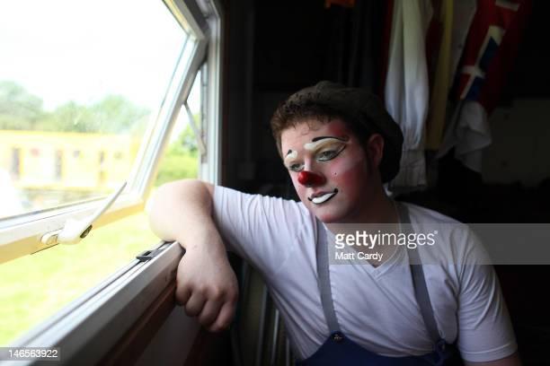 Gareth Ellis who is Bippo the clown in Gerry Cottle's Circus 50 Acts In 100 Minutes prepares for his performance on June 19 2012 in Shepton Mallet...