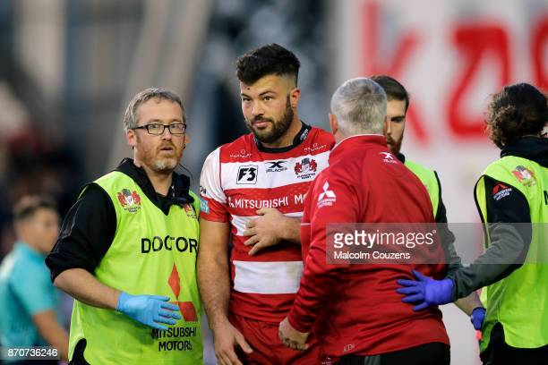 Gareth Evans of Gloucester Rugby is treated for an injury during the AngloWelsh Cup tie between Leicester Tigers and Gloucester Rugby at Welford Road...