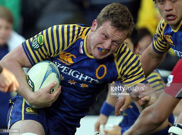 Gareth Evans of Otago on the charge during the ITM Cup Championship Semi Final match between Otago and Tasman at Forsyth Barr Stadium on October 19,...