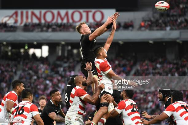 Gareth Evans of the All Blacks competes in the line out during the test match between Japan and New Zealand All Blacks at Tokyo Stadium on November...
