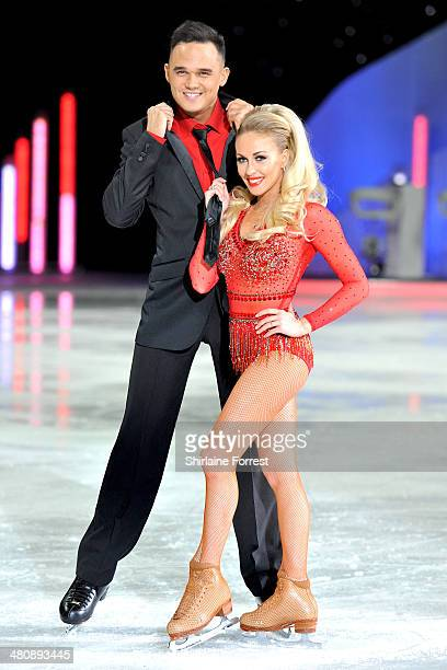 Gareth Gates and Brianne Delcourt attend a photocall to launch the final tour of Torvill & Dean's Dancing On Ice at Phones 4 U Arena on March 27,...
