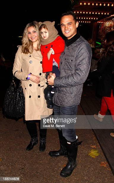 Gareth Gates and his wife Suzanne Mole Gates with daughter Missy attend the Winter Wonderland Launch Party at Hyde Park on November 17,2011 in...