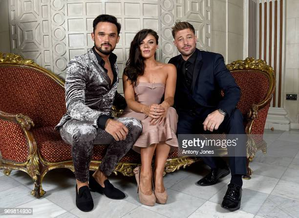 Gareth Gates, Faye Brookes and Duncan James attend the 2018 Diva Awards at The Waldorf Hilton Hotel on June 8, 2018 in London, England.