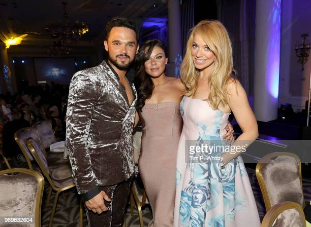 Gareth Gates, Faye Brookes and Liz McClarnon attend the 2018 Diva Awards at The Waldorf Hilton Hotel on June 8, 2018 in London, England.