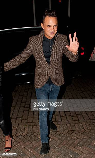 Gareth Gates is seen arriving at his Hotel, Borehamwood on February 2, 2014 in London, England.