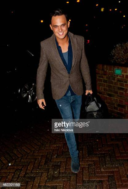 Gareth Gates is sighted arriving at Hotel, Borehamwood on January 12, 2014 in London, England.