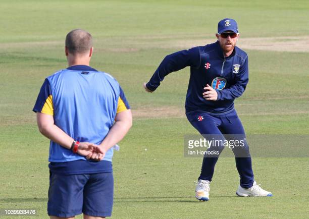 Gareth Harte of Durham bowls during the Supersavers County Championship Division Two match between Durham and Middlesex at Emirates Riverside on...