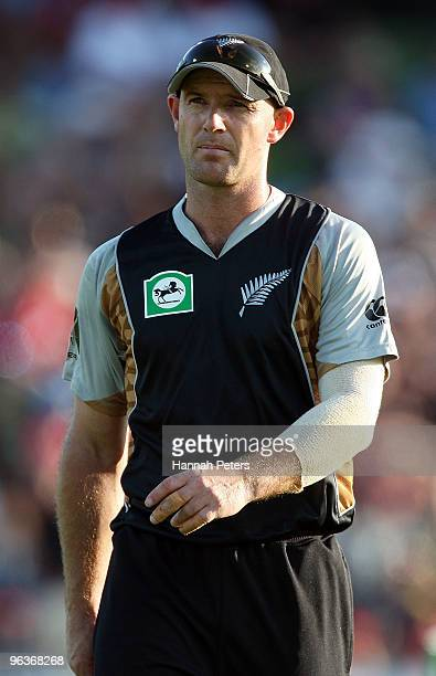 Gareth Hopkins of New Zealand looks on during the Twenty20 International match between New Zealand and Bangladesh at Seddon Park on February 3 2010...