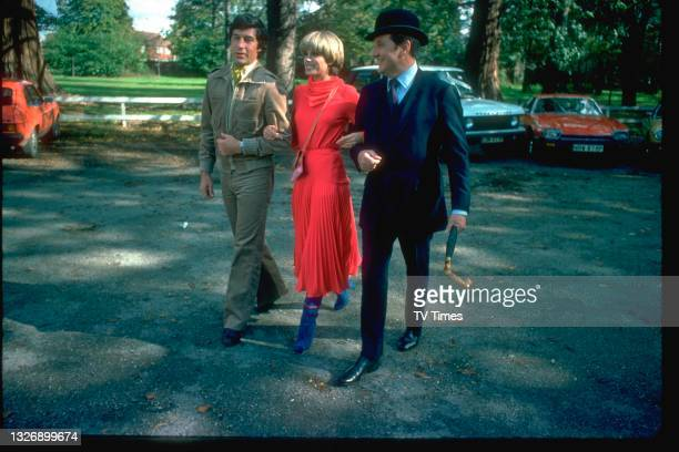 Gareth Hunt, Joanna Lumley and Patrick Macnee in character as Gambit, Purdey and Jon Steed in action series The New Avengers, circa 1977.