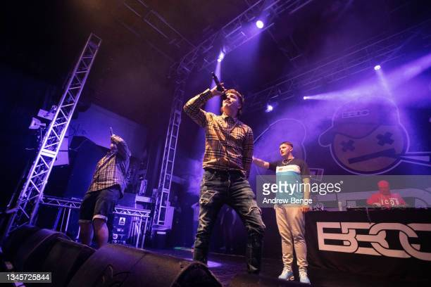 Gareth Kelly, Sam Robinson and Kane Welsh of Bad Boy Chiller Crew perform at O2 Academy Leeds on October 09, 2021 in Leeds, England.