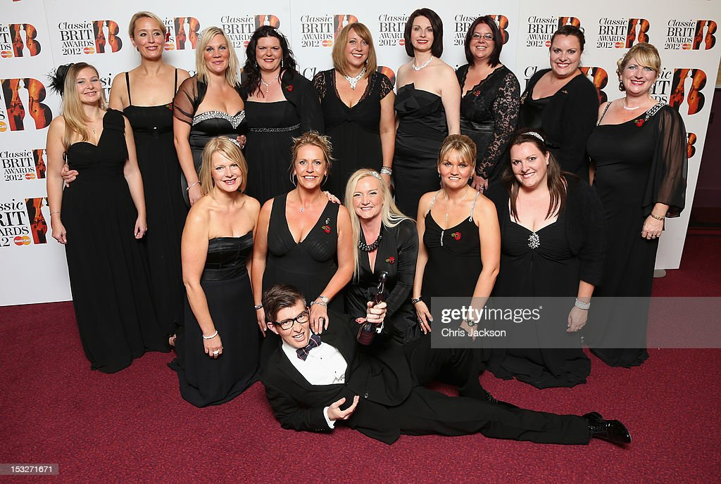Gareth Malone and the Military Wives Choir with their Single of the Year trophy at the Classic BRIT Awards at the Royal Albert Hall on October 2, 2012 in London, England.