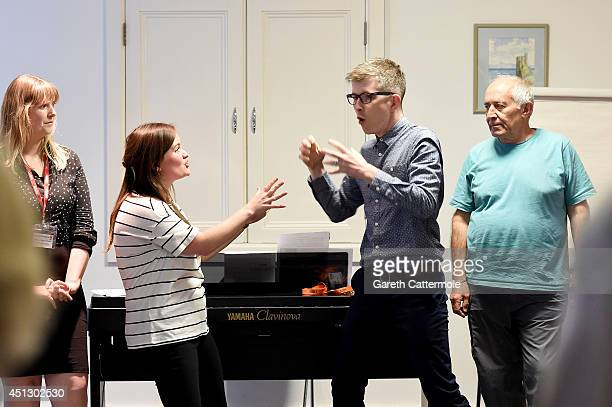 Gareth Malone attends a Nordoff Robbins community choir session as he visits the Nordoff Robbins Music Therapy Centre on June 26 2014 in London...