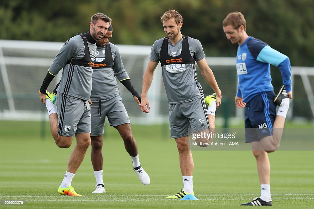 Gareth McAuley and Craig Dawson of West Bromwich Albion during a training session at West Bromwich Albion Training Ground on September 23, 2016 in Walsall, England.