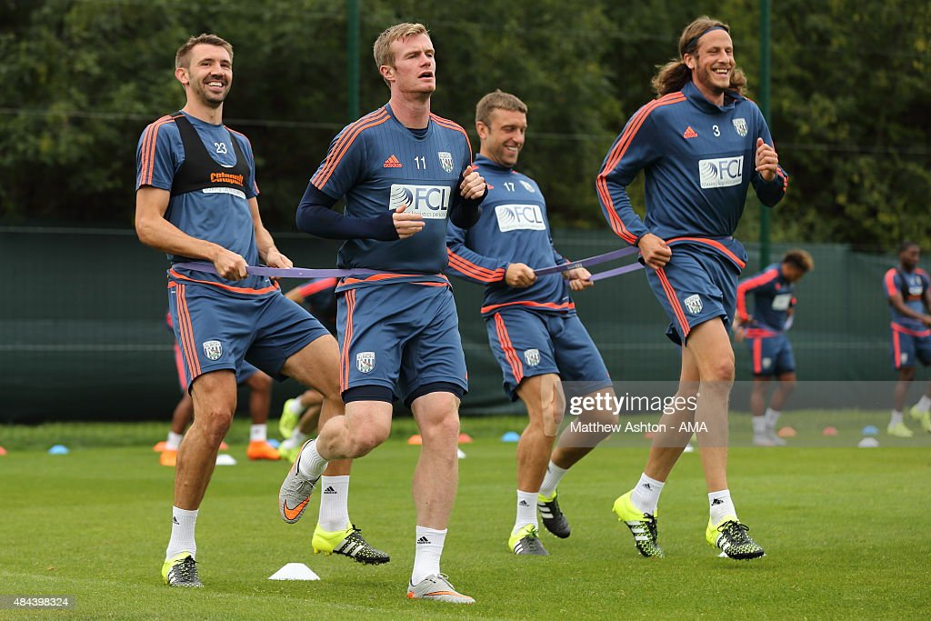 Gareth McAuley, Chris Brunt, Rickie Lambert and Jonas Olsson of West Bromwich Albion during the West Bromwich Albion training session at West Bromwich Albion Training Ground on August 18, 2015 in Walsall, England.