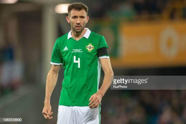 Gareth McAuley of N.Ireland during the UEFA Nations League B Group 3 between Northern Ireland and Austria at Windsor Park in Belfast, Northern...