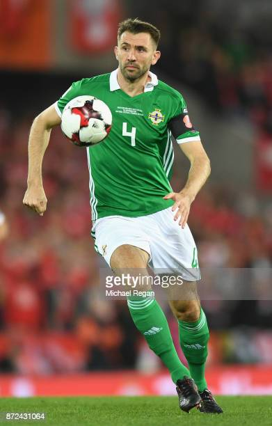 Gareth McAuley of Northern Ireland in action during the FIFA 2018 World Cup Qualifier PlayOff First Leg between Northern Ireland and Switzerland at...