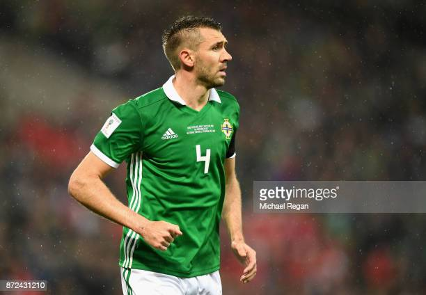Gareth McAuley of Northern Ireland in action during the FIFA 2018 World Cup Qualifier Play-Off: First Leg between Northern Ireland and Switzerland at...