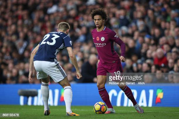 Gareth McAuley of West Bromwich Albion and Leroy Sane of Manchester City during the Premier League match between West Bromwich Albion and Manchester...