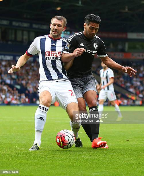 Gareth McAuley of West Bromwich Albion and Radamel Falcao of Chelsea during the Barclays Premier League match between West Bromwich Albion and...