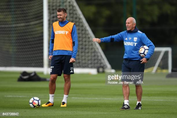 Gareth McAuley of West Bromwich Albion and Tony Pulis manager / head coach of West Bromwich Albionon September 7 2017 in West Bromwich England