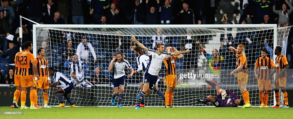 Gareth McAuley of West Bromwich Albion celebrates scoring a goal during the Capital One Cup Third Round match between West Bromwich Albion and Hull City at The Hawthorns on September 24, 2014 in West Bromwich, England.