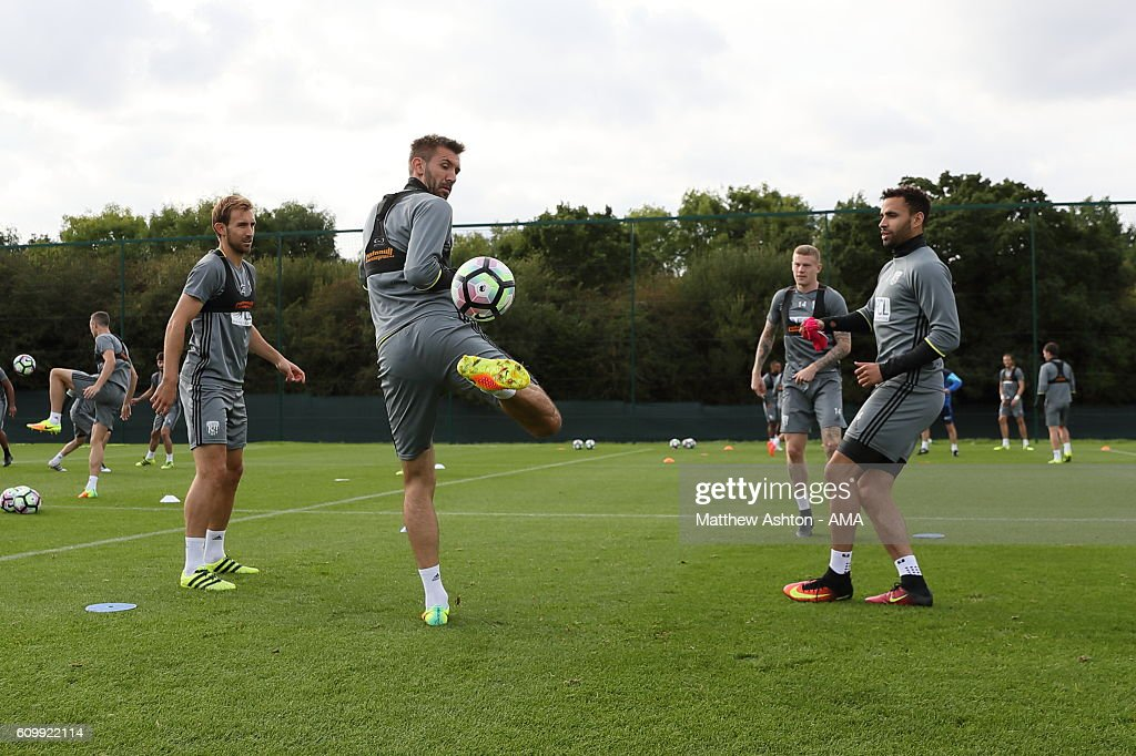 Gareth McAuley of West Bromwich Albion during a training session at West Bromwich Albion Training Ground on September 23, 2016 in Walsall, England.