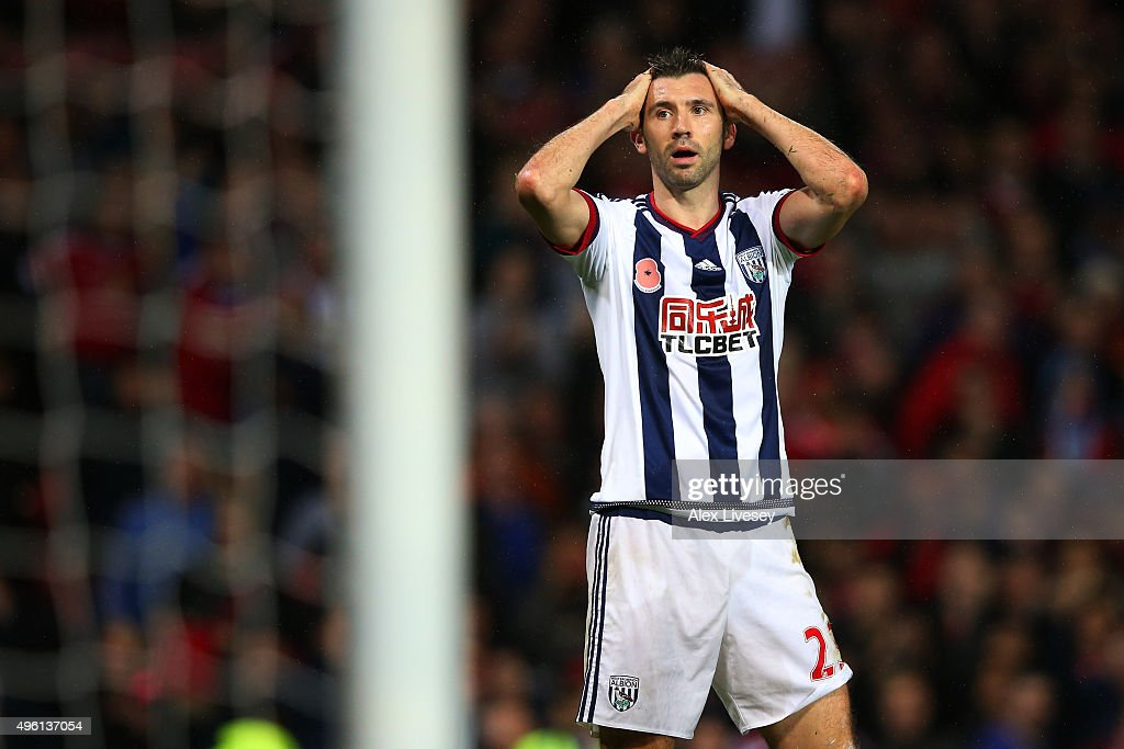 Gareth McAuley of West Bromwich Albion reacts after fouling Anthony Martial of Manchester United in the penalty area during the Barclays Premier League match between Manchester United and West Bromwich Albion at Old Trafford on November 7, 2015 in Manchester, England.