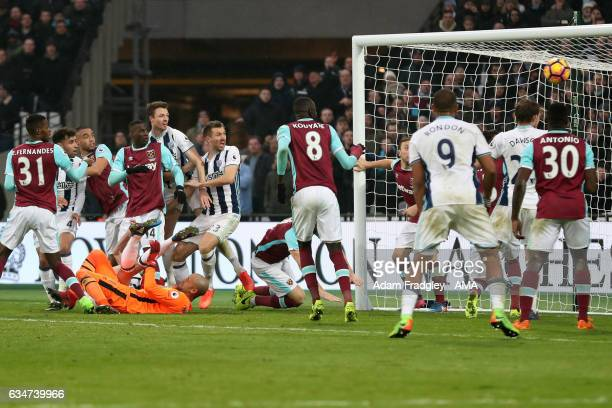 Gareth McAuley of West Bromwich Albion scores a goal to make it 22 during the Premier League match between West Ham United and West Bromwich Albion...
