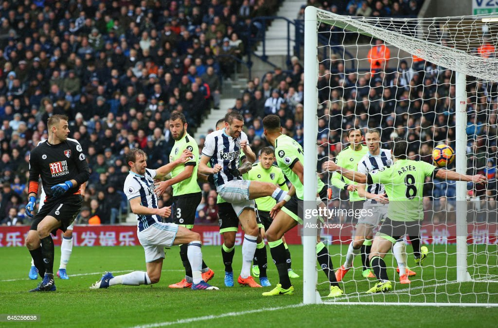 Gareth McAuley of West Bromwich Albion scores his sides second goal during the Premier League match between West Bromwich Albion and AFC Bournemouth at The Hawthorns on February 25, 2017 in West Bromwich, England.