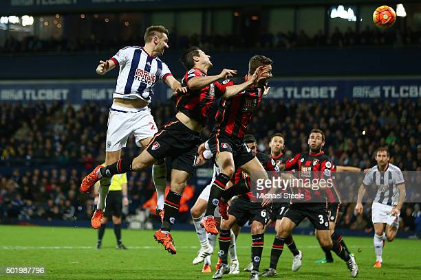 Gareth McAuley of West Bromwich Albion scores his team's first goal during the Barclays Premier League match between West Bromwich Albion and AFC...