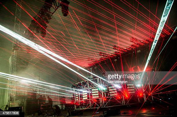 Gareth McGrillen and Rob Swire of Knife Party perform onstage headlinging the Pepsi Max stage at the end of Day 2 of New Look Wireless Festival 2015...