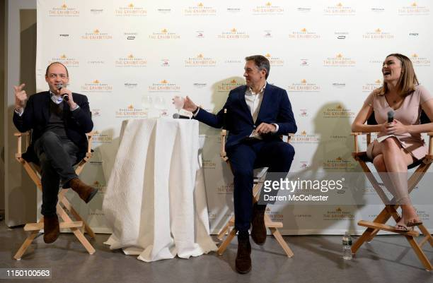 Gareth Neame Dominic Burns and Jackie Bruno speak at the opening of the Downton Abbey exhibition June 14 2019 in Boston Massachusetts
