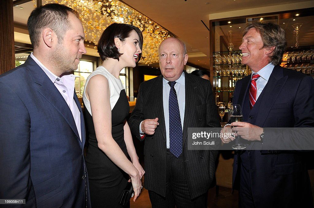 Gareth Neame, Michelle Dockery, Julian Fellowes and Nigel Lythgoe attend a Golden Globe lunch hosted by BritWeek chairman Bob Peirce honoring Julian Fellowes, Gareth Neame and Michelle Dockery at Four Seasons Hotel Los Angeles at Beverly Hills on January 12, 2013 in Beverly Hills, California.
