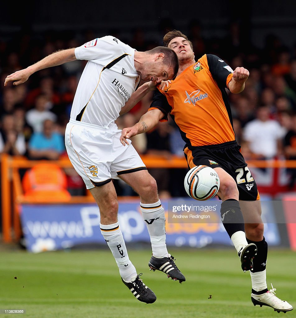 Gareth Owen of Port Vale (L) and Daniel Leach of Barnet battle for the ball during the npower League Two match between Barnet and Port Vale at Underhill Stadium on May 7, 2011 in Barnet, England.