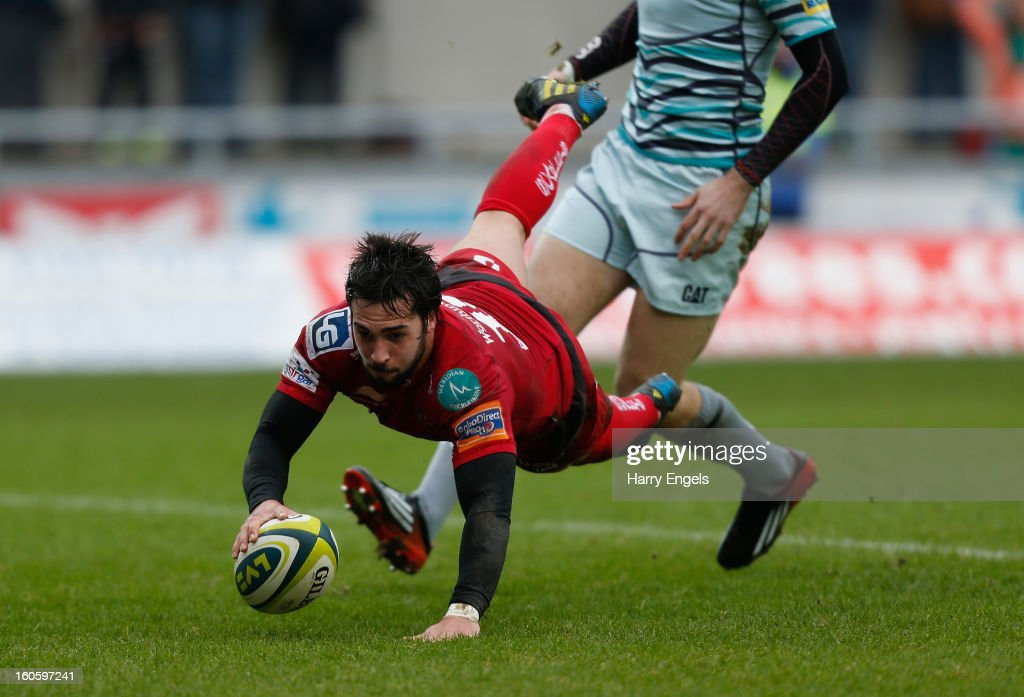 Gareth Owen of Scarlets scores a try during the LV= Cup match between Scarlets and Leicester Tigers at Parc y Scarlets on February 3, 2013 in Llanelli, Wales.