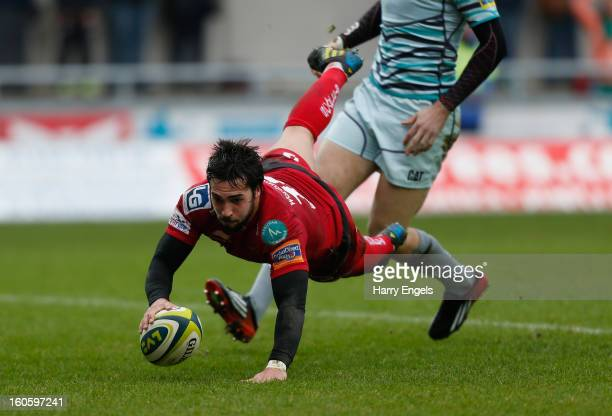 Gareth Owen of Scarlets scores a try during the LV= Cup match between Scarlets and Leicester Tigers at Parc y Scarlets on February 3, 2013 in...