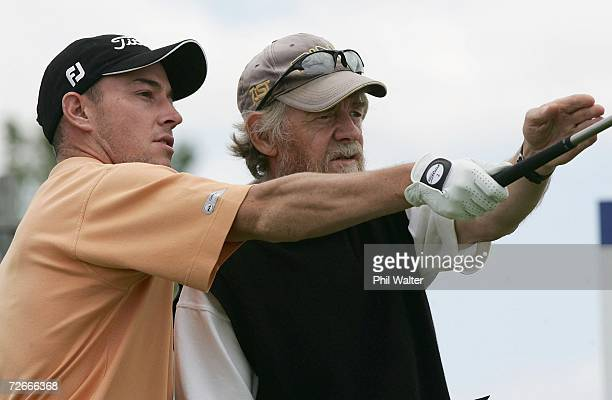 Gareth Paddison of New Zealand and his caddy Brian Turner during the New Zealand Open Pro Am at the Gulf Harbour Country Club on the Whangaparoa...