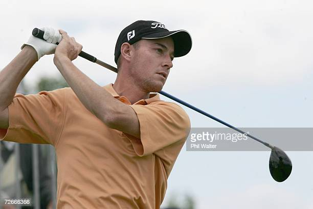 Gareth Paddison of New Zealand tees off during the New Zealand Open Pro Am at the Gulf Harbour Country Club on the Whangaparoa Peninsula November 29,...