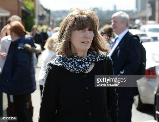 Gareth Peirce solicitor for Gerry Conlon looks on as the coffin of Gerry Conlon is carried from St Peter's Cathedral after a requiem mass on June 28...