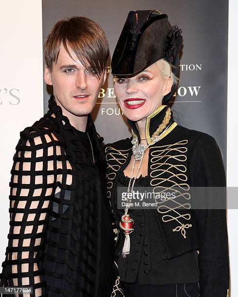 Gareth Pugh and Daphne Guinness attend a charity auction for the Daphne Guinness Collection being sold to benefit the Isabella Blow Foundation at...
