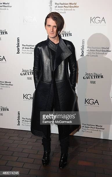 Gareth Pugh attends the VIP private view of The Fashion World Of Jean Paul Gaultier at Barbican Art Gallery on April 7 2014 in London England