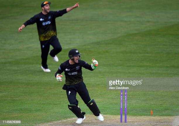 Gareth Roderick of Gloucestershire appeals for the wicket of George Bartlett during the Royal London One Day Cup match between Gloucestershire and...