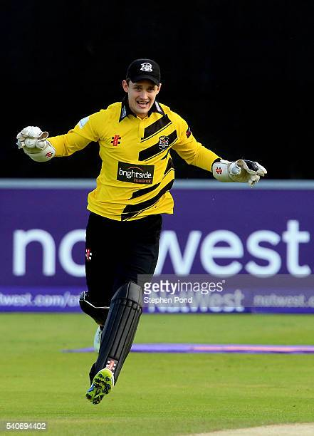 Gareth Roderick of Gloucestershire celebrates catching out Jesse Ryder of Essex with the first ball during the NatWest T20 Blast match between Essex...