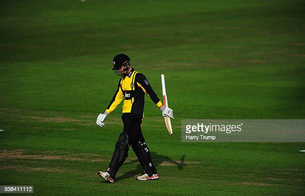 Gareth Roderick of Gloucestershire cuts a dejected figure after being dismissed during the Royal London One Day Cup match between Glamorgan and...