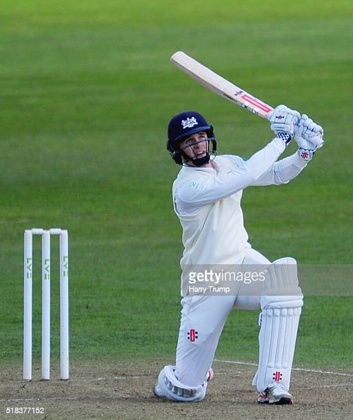 Gareth Roderick of Gloucestershire hits out during the MCC Univesity Match between Gloucestershire and Durham MCCU at the County Ground on March 31...