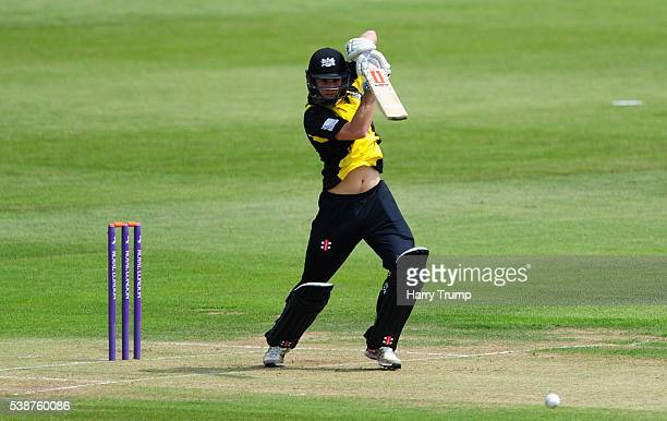 Gareth Roderick of Gloucestershire hits out during the Royal London One Day Cup match between Gloucestershire and Middlesex at the Brightside Ground...