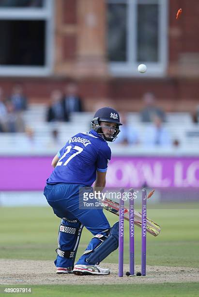 Gareth Roderick of Gloucestershire is bowled out during the Royal London One Day Cup Final between Gloucestershire and Surrey at Lord's Cricket...